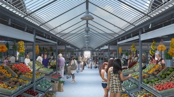 Mercado do Bolhão interior perspective showing the future market stalls